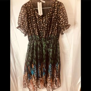 MissLook Feather  Print Dress - size 8